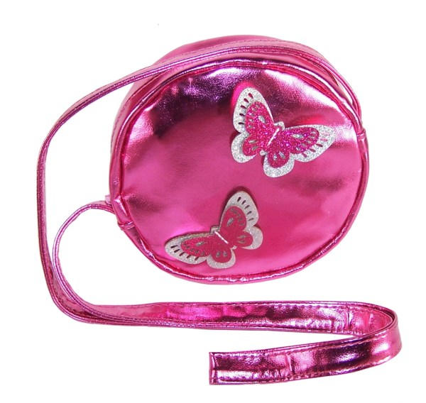 Girls round pink over the body bag with sparkly butterflies-0