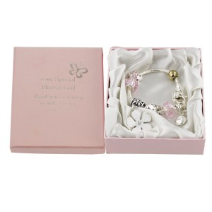 Flower girl silver/pink charm bracelet