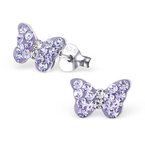 Girls Purple Butterfly Crystal Stud Earrings
