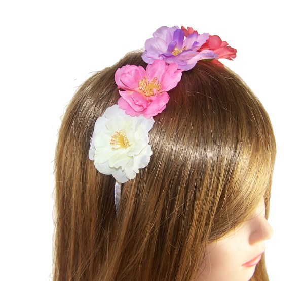 Girls colourful rose headband-2998