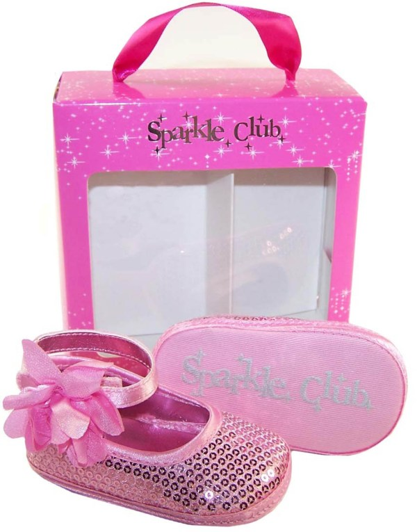 Baby girls pink sequin soft sole shoes-3295