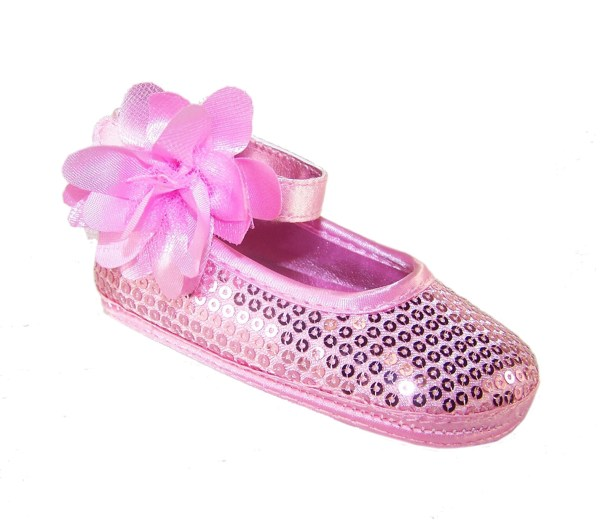 Baby girls pink sequin soft sole shoes-0