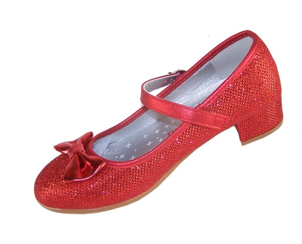 Girls red sparkly heeled shoes with red heart bag-3981