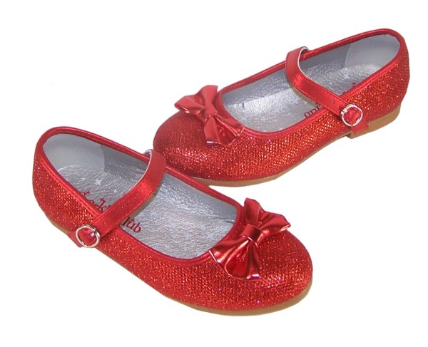 Girls red sparkly flat shoes with red bag - Gift Set-4557