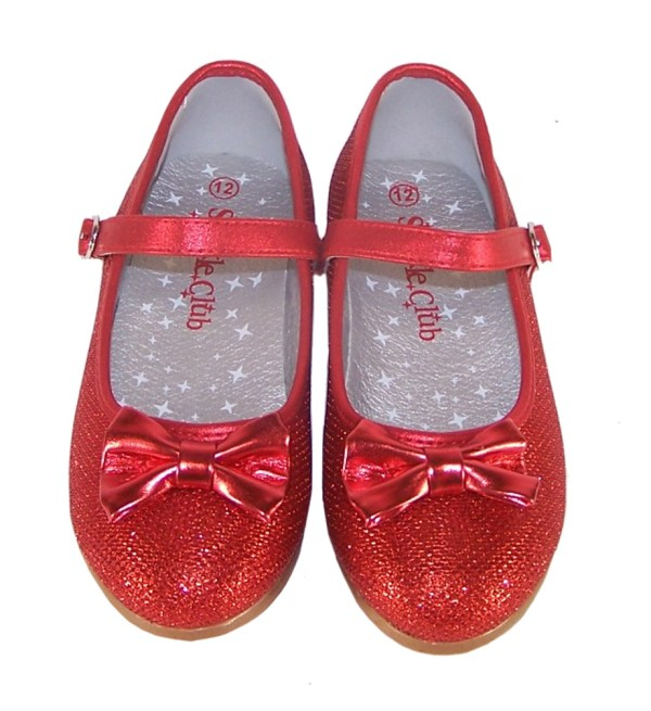 Girls red sparkly flat shoes with red bag - Gift Set-4556
