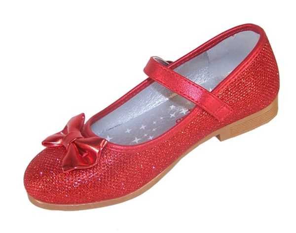 Girls red sparkly flat shoes with red bag - Gift Set-4554