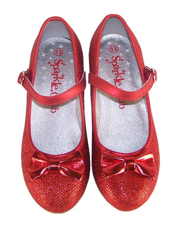 Girls red sparkly low heeled shoes - Gift Set-3988