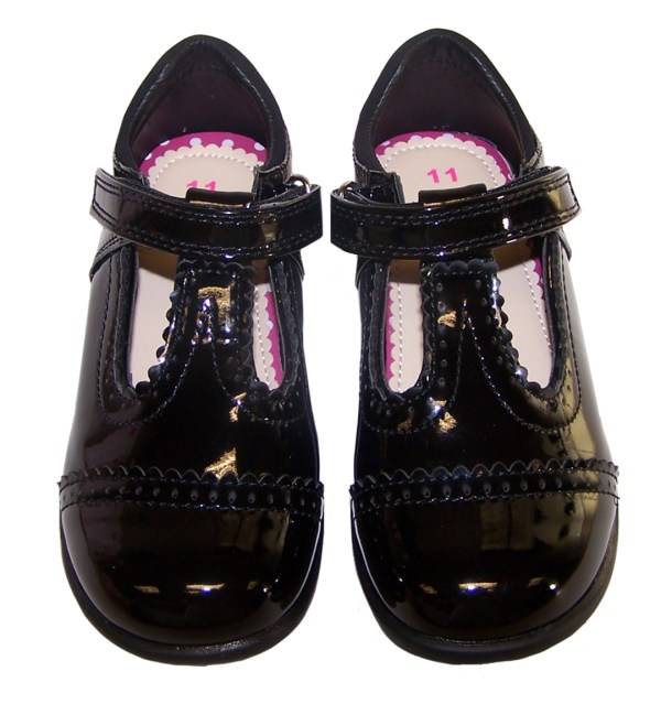 Girls black patent school shoes with lights-3540