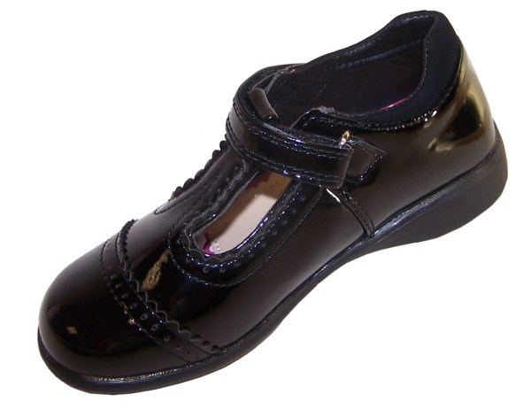 Girls black patent school shoes with lights-3542