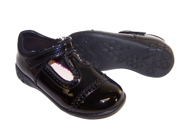 Girls black patent school shoes with lights-3543
