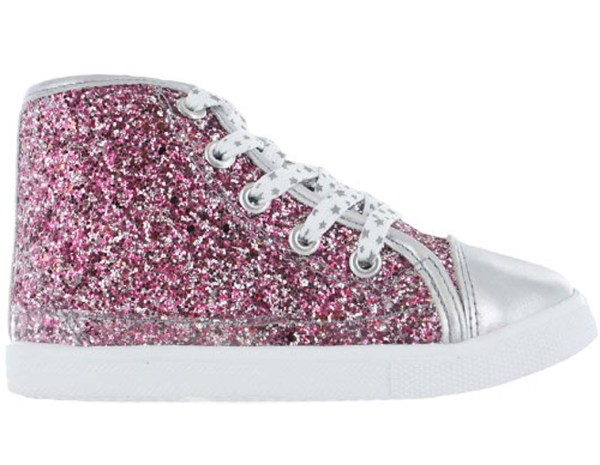 Girls pink and silver glitter high top skater shoes -3655