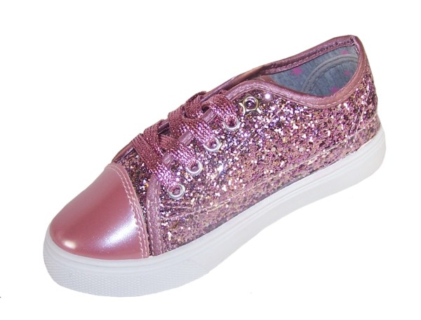 Girls rose pink glitter sparkly trainers -3697
