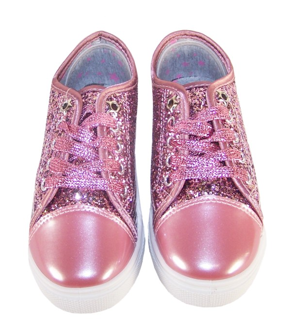 Girls rose pink glitter sparkly trainers -3695