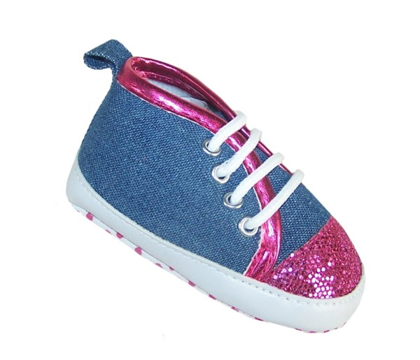 Baby girl denim and fuchsia pink sparkle trainers-0