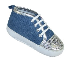 Baby girl denim and silver sparkle trainers