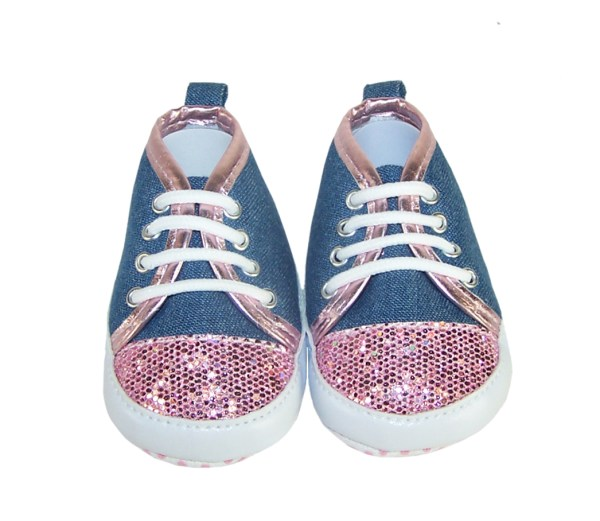 Baby girl denim and pink sparkle trainers-3742