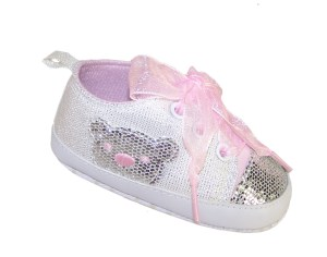 Baby white and silver sparkly bear trainers