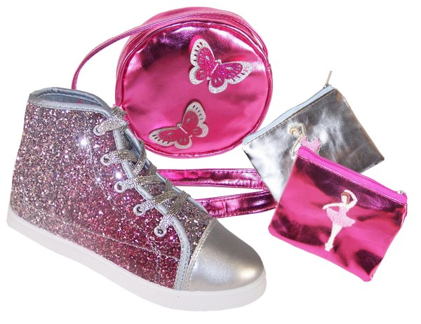 Girls pink and silver glitter high top sparkly trainers gift set-3830