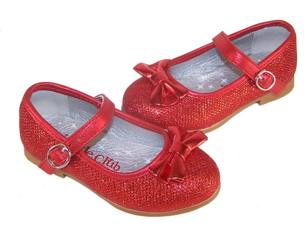Infant girls red sparkly ballerina party shoes-3848