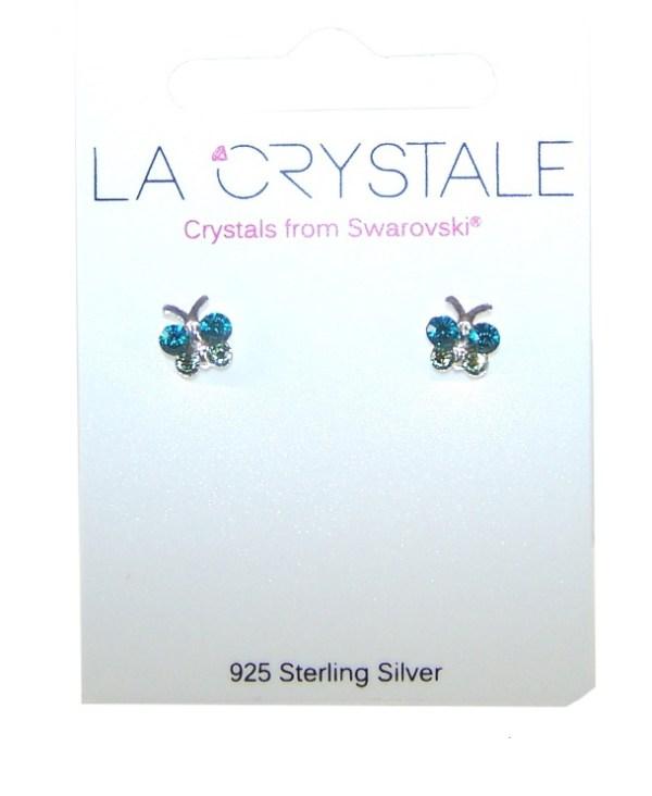Girls butterfly crystal from Swarovski 925 sterling silver stud earrings-3896