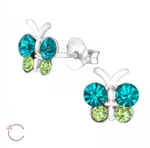 Girls butterfly crystal from Swarovski 925 sterling silver stud earrings