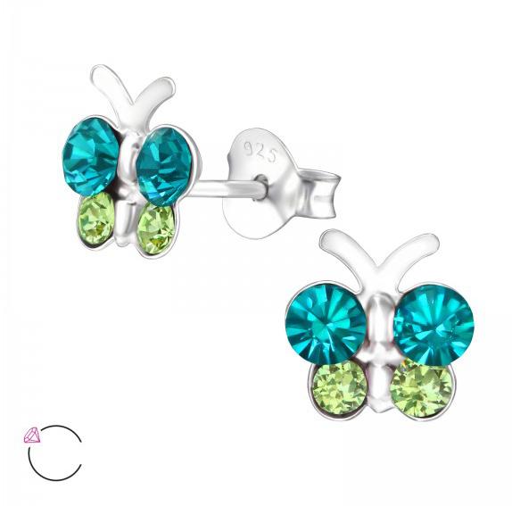 Girls butterfly crystal from Swarovski 925 sterling silver stud earrings-0