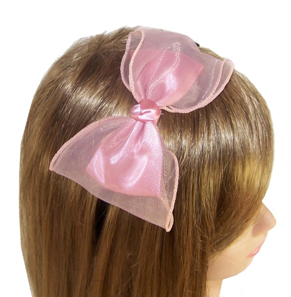 Girls fabric and net large bow on slim aliceband-0