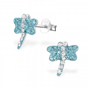 Girls blue crystal dragonfly stud earrings-0