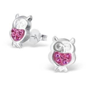 Girls pink crystal owl stud earrings