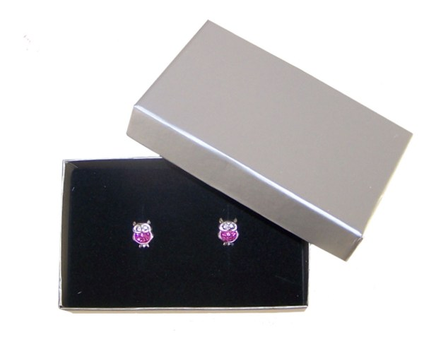 Girls pink crystal owl stud earrings-3976