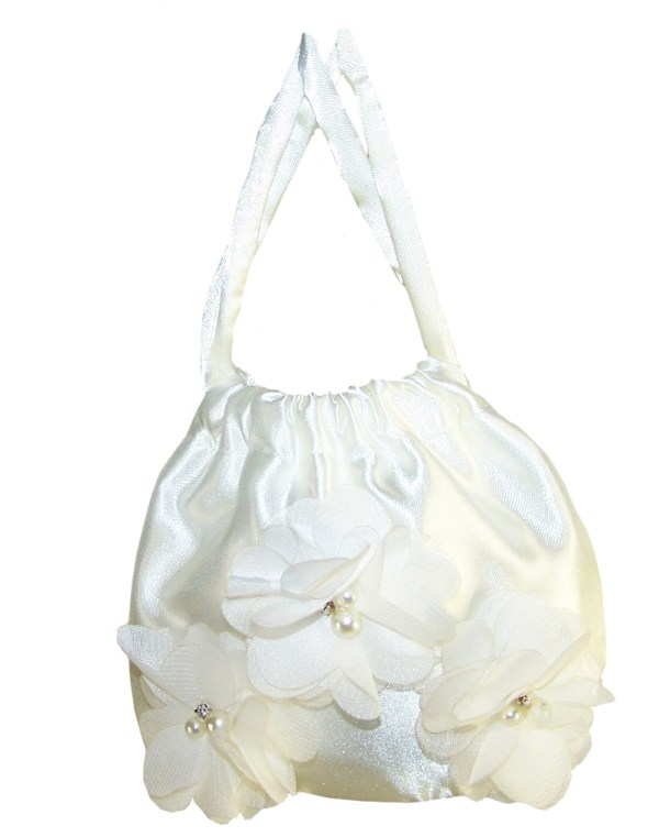 Girls ivory satin drawstring handbag-4016