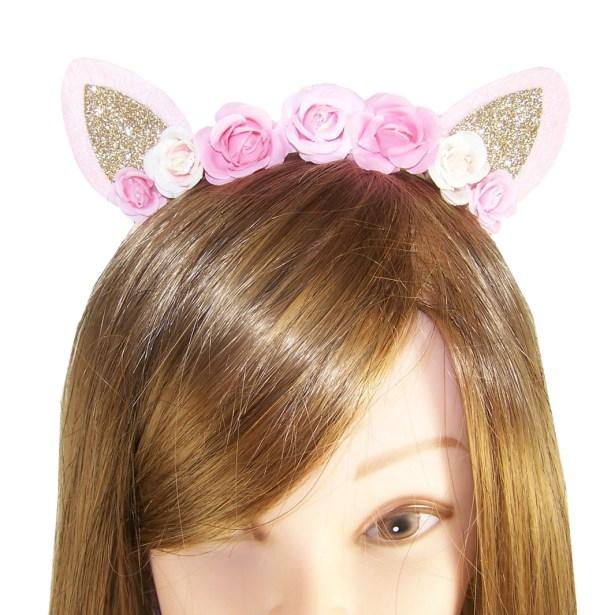 Girls pink tone flower and glitter ears design headband-4109