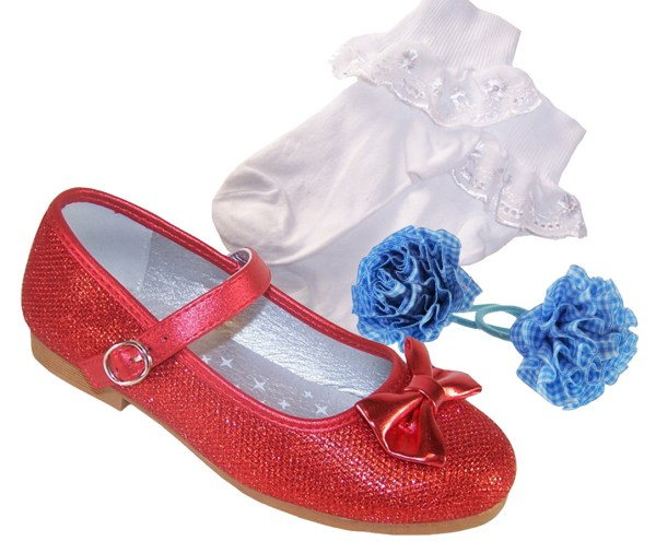 Girls red sparkly ballerina dressing up shoes, socks and hair accessory set -0