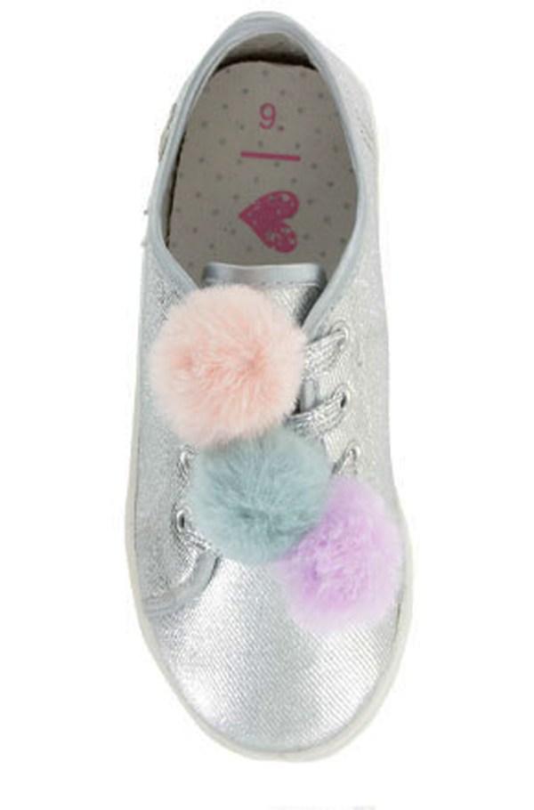 Girls silver sparkly pom pom trainers-4188