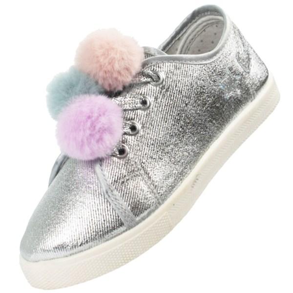 Girls silver sparkly pom pom trainers-4187