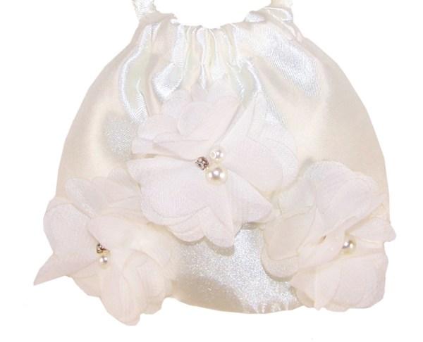 Infants ivory satin flower girl ballerinas and bag -4225