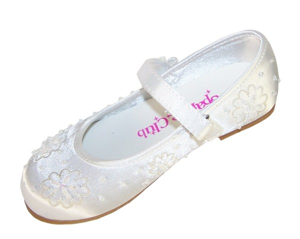 Infant white flower girl, bridesmaid and ballerina shoes-4206