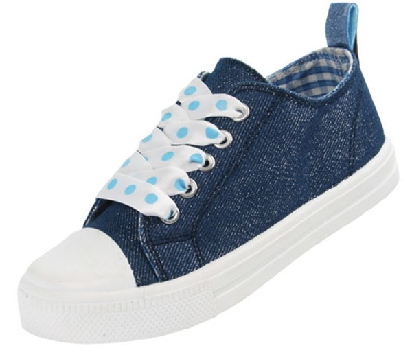 Girls blue sparkly denim trainers with poka dot ribbon trainers-4255
