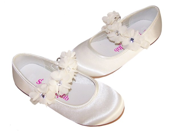 Girls ivory satin flower girl, bridesmaid and ballerina shoes-4203