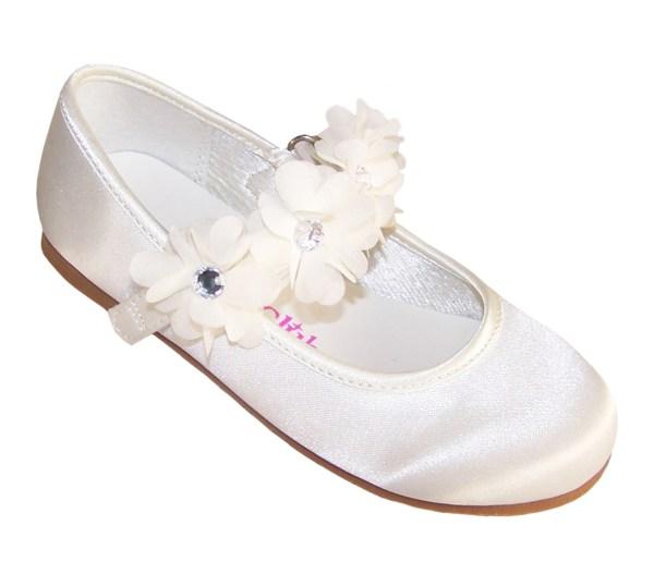 Infants ivory satin flower girl ballerinas and bag -4224