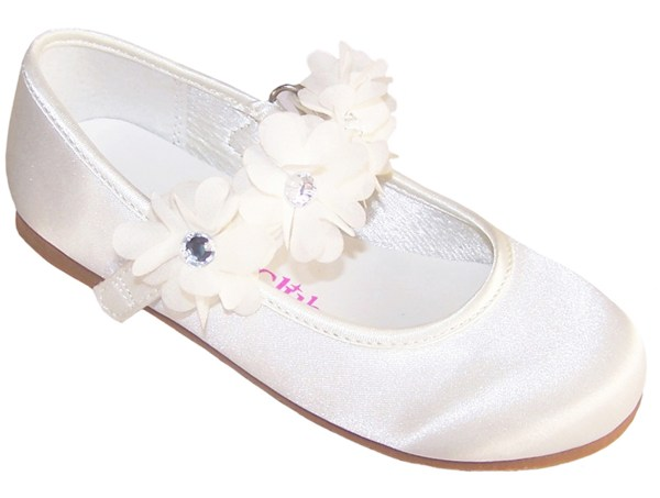 Girls ivory satin flower girl, bridesmaid and ballerina shoes-0
