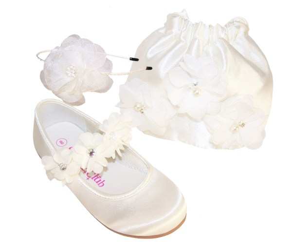 Girls ivory satin flower girl bridesmaid ballerinas and bag -0