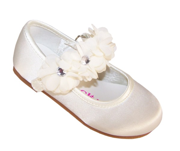 Infants ivory satin flower girl, bridesmaid and ballerina shoes-0