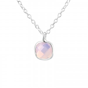 Girls pink pearl necklace-0