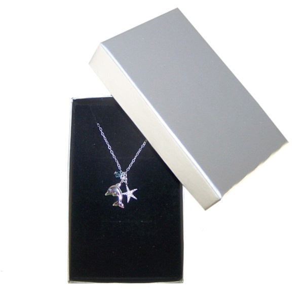 Girls sterling silver dolphin necklace with a crystal from Swarovski -4561