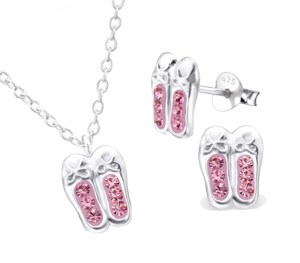 Girls pink crystal ballet shoes 925 sterling silver necklace and stud earrings set