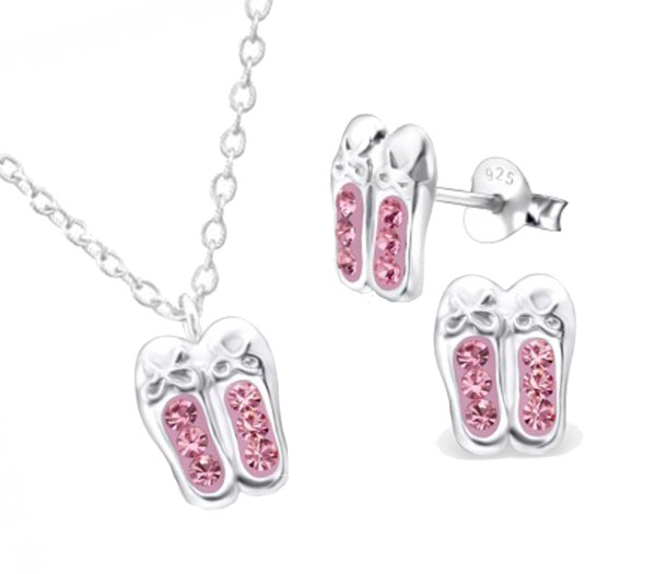 Girls pink crystal ballet shoes 925 sterling silver necklace and stud earrings set-0