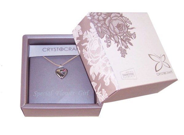 Flower girls silver heart charm necklace-4740