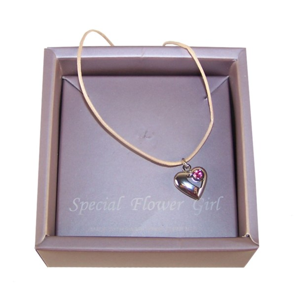 Flower girls silver heart charm necklace-4741