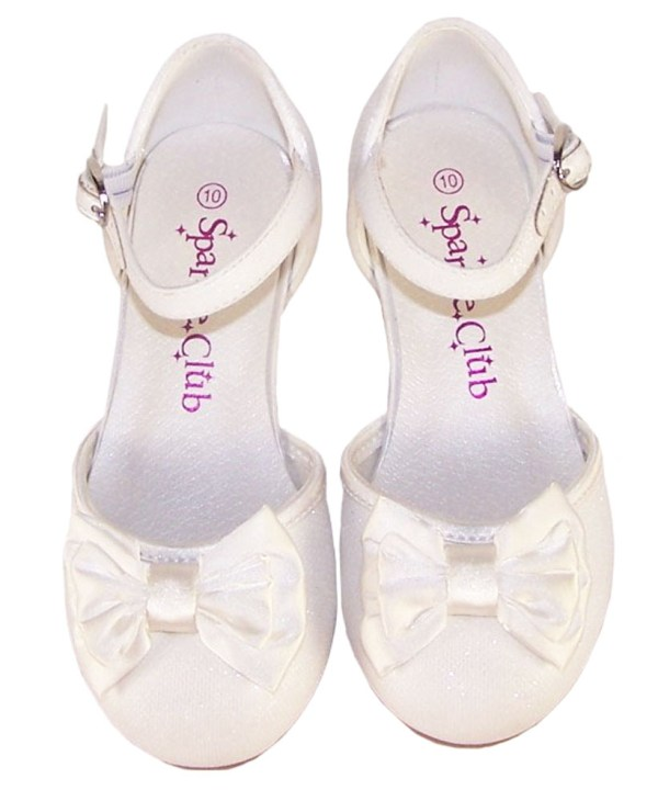 Girls sparkly ivory heeled bridesmaid shoes -4692